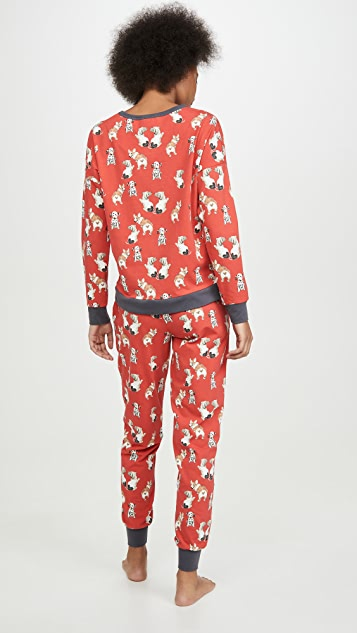 BedHead Pajamas 甜美心形套头圆领上衣和慢跑长裤套装