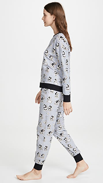 BedHead 睡衣 x Disney© 复古米老鼠慢跑长裤睡衣套装