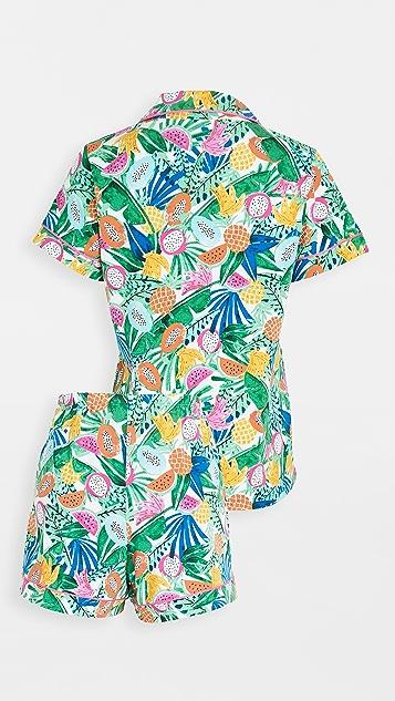BedHead Pajamas Tropical Fruits Short-Sleeve Classic Shorty PJ Set