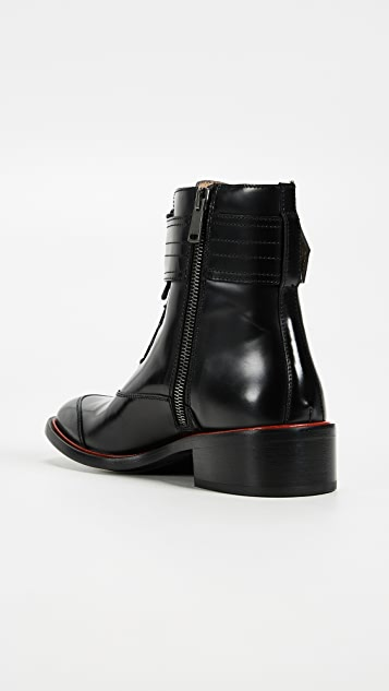 Belstaff Acklington high shine boot with red stripe