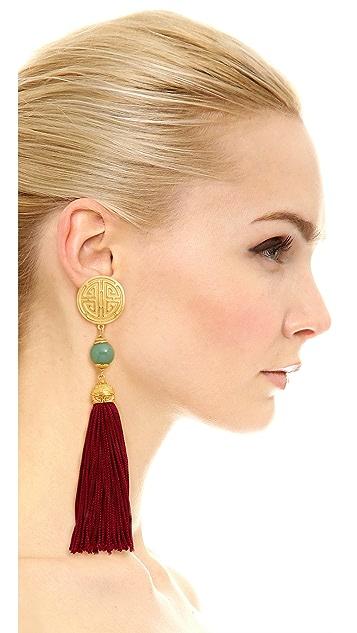 Ben-Amun Jade Tassel Earrings