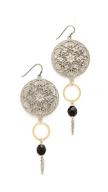 Ben-Amun Round Top Drop Single Fishook Earrings