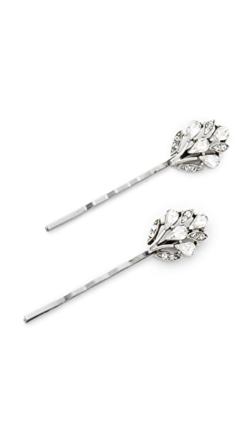 Ben-Amun Crystal Peacock Bobby Pin Set of 2