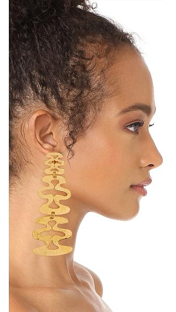 Ben-Amun Long Wavy Clip On Earrings