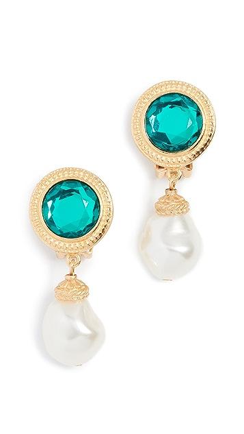 Ben-Amun Imitation Pearl & Jewel Clip On Earrings
