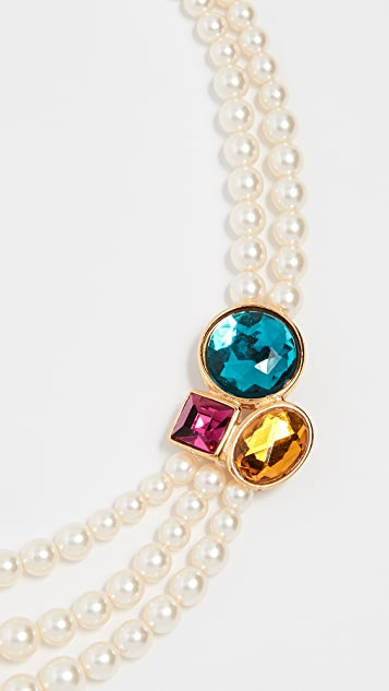 Ben-Amun Imitation Pearl & Stone Necklace