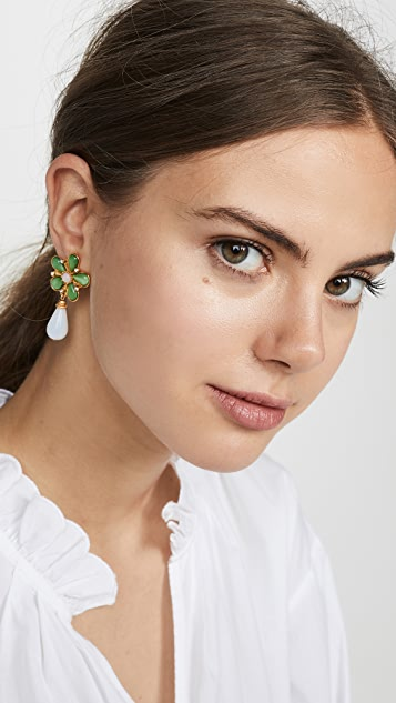 Ben-Amun Floral Post Earrings with Drop