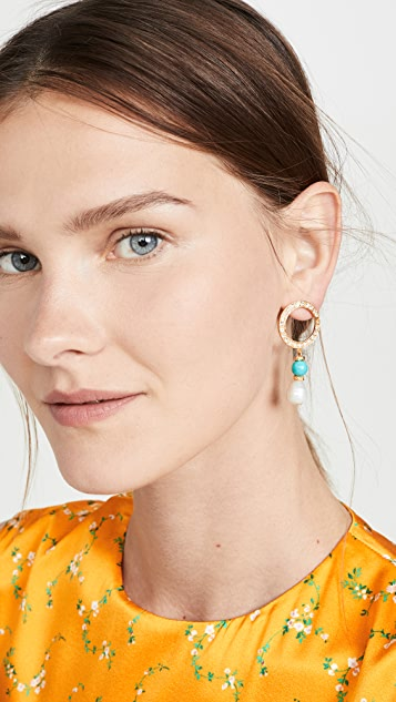 Ben-Amun Crystal Circle Earrings with Pearl Drop