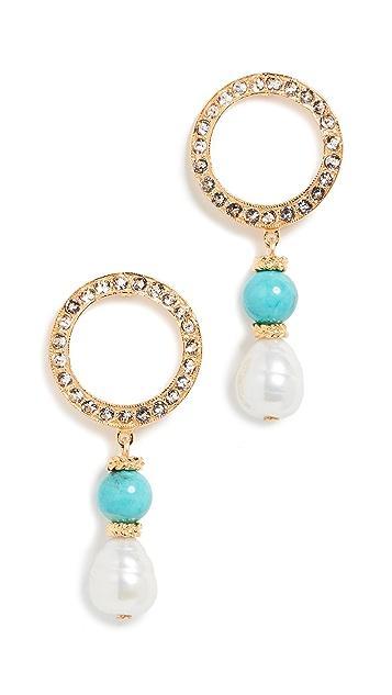Ben-Amun 珍珠吊坠水晶圆圈耳环