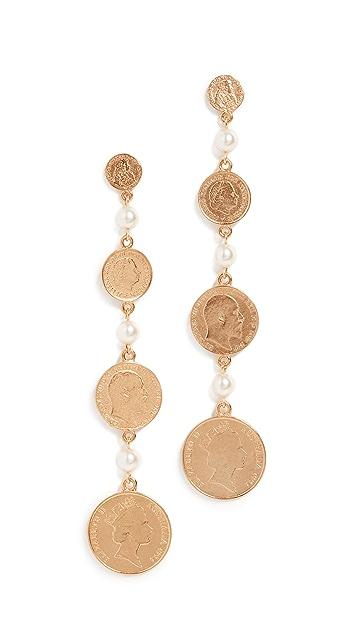 Ben-Amun Long Coin Earrings