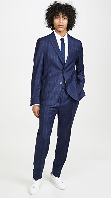 BOSS Hugo Boss Flannel Stripe Patch Pocket Sport Coat