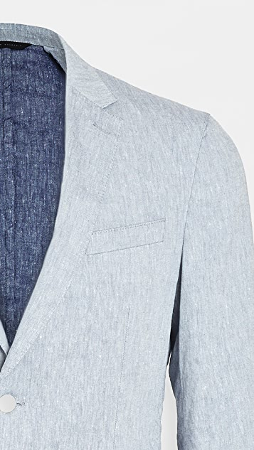 BOSS Hugo Boss Dusty Blue Linen Blend Suit Jacket