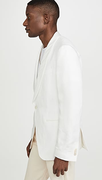 BOSS Hugo Boss White Shawl Collar Linen Blend Sportcoat