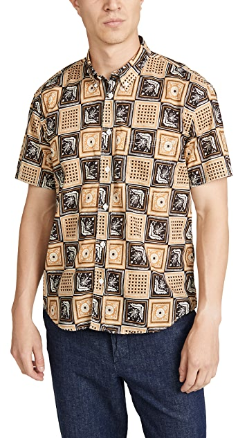 Billy Reid Tuscumbia Short Sleeve Savannah Tile Shirt