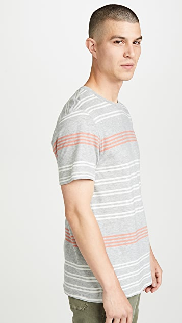 Billy Reid Short Sleeve Cotton Stripe T-Shirt