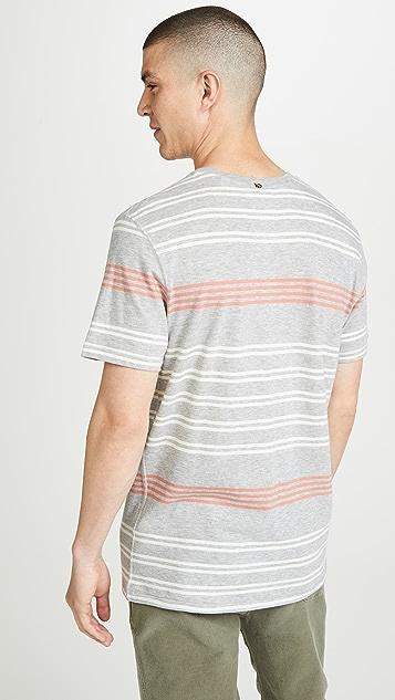 Billy Reid Short Sleeve Cotton Stripe T-Shirt
