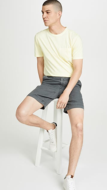 Billy Reid Cotton Linen Panel Shorts