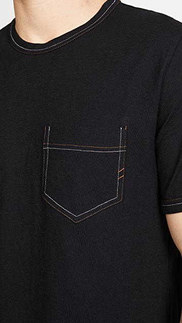 Billy Reid Short Sleeve Contrast Stitch Ringer Tee