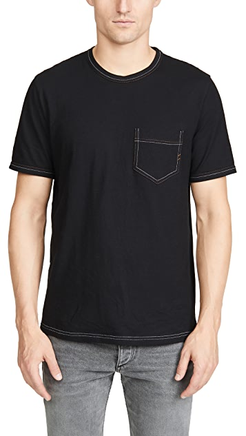 Billy Reid Short Sleeve Contrast Stitch Ringer Tee