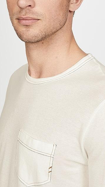 Billy Reid Long Sleeve Contrast Stitch Pocket Tee