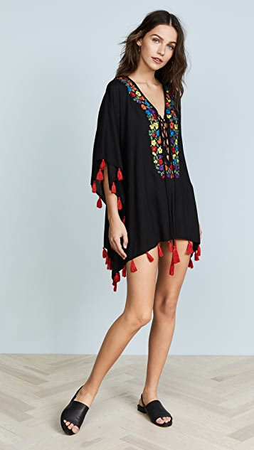 Bindya Floral Embroidery Lace Up Tunic - Black