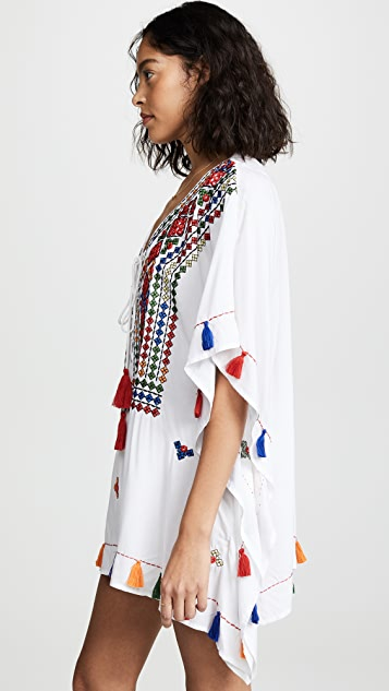 Bindya Lace Up Tunic with Mirror Embroidery