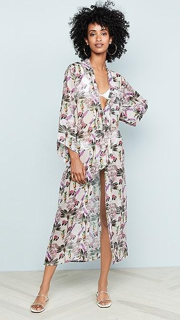 Bindya Marbella Kimono - Pink Printed