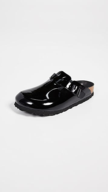 Birkenstock Boston Black Patent Clogs - Narrow
