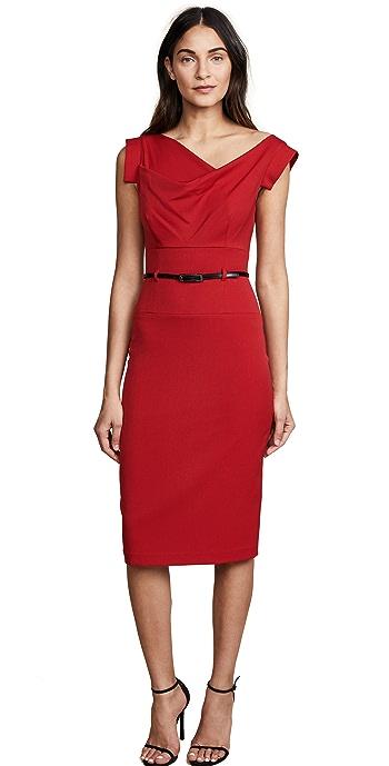 Black Halo Jackie O Belted Dress - Red