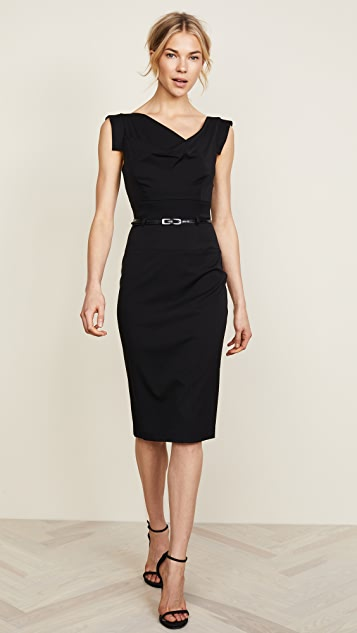 56b8aeea2c1 Black Halo Jackie O Belted Dress ...