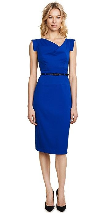 Black Halo Jackie O Belted Dress - Cobalt