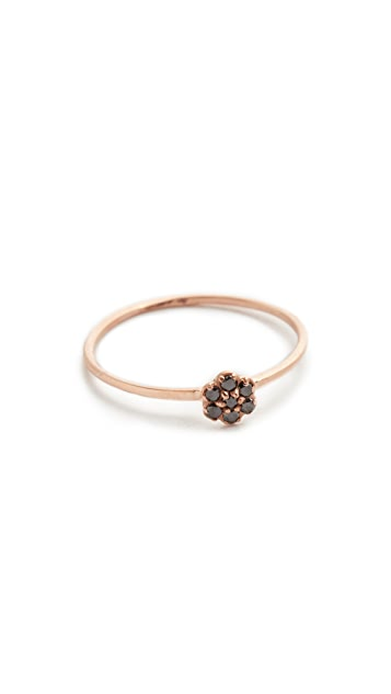 blanca monros gomez Black Diamond Small Rosette Stacking Ring