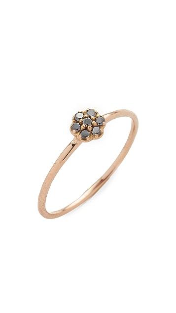 blanca monros gomez Black Diamond Small Rosette Stacking Ring