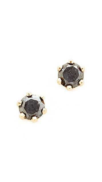 diamond enhanced black cut earrings solitaire princess stud