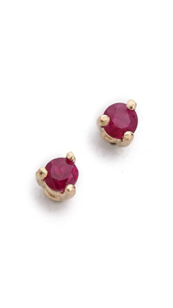 blanca monros gomez 14k Gold Tiny Ruby Stud Earrings