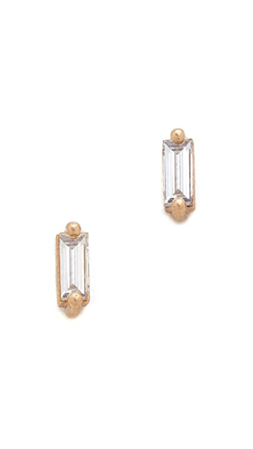 blanca monros gomez 14k Gold Baguette Stud Earrings
