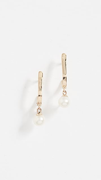 blanca monros gomez 14k Gold Curved Freshwater Cultured Pearl Bar Studs