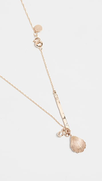 blanca monros gomez 14K Gold Seashell Diamond ID Necklace