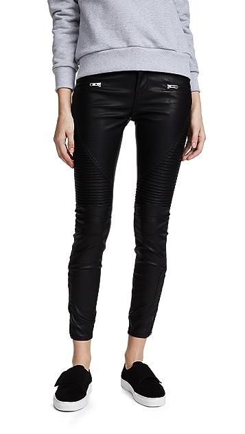 Blank Denim Байкерские брюки из черной искусственной кожи