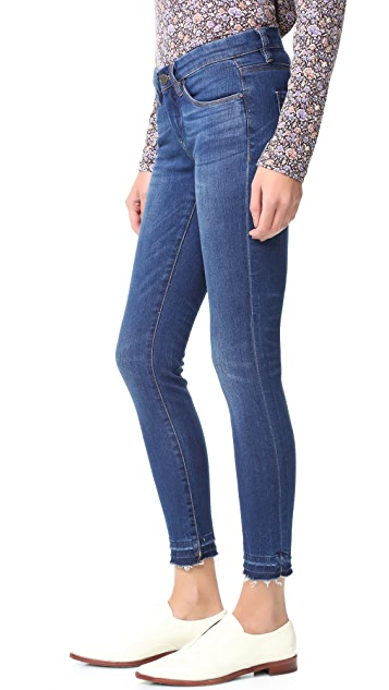Blank Denim Skinny Ankle Jeans with Frayed Hem