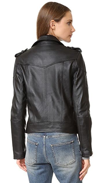 Blank Denim Leather Moto Jacket