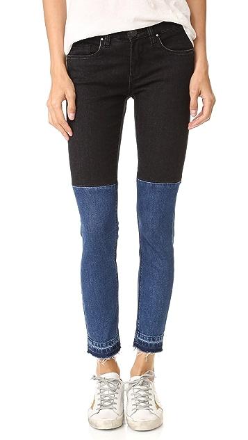 Blank Denim Two Tone Raw Hem Jeans