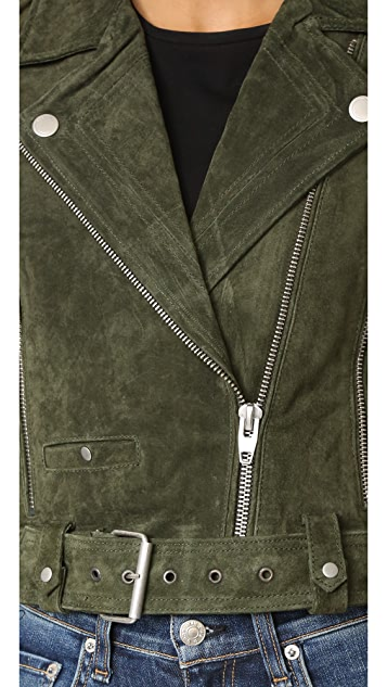Blank Denim Genuine Suede Moto Jacket