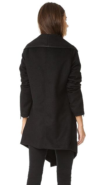 Blank Denim Drape Front Jacket