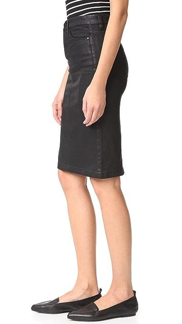 Blank Denim Vegan Leather Skirt