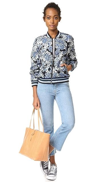 Blank Denim Floral Bomber Jacket
