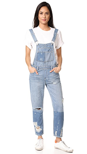 Blank Denim Distressed Overalls