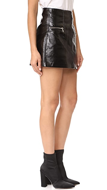 Blank Denim Faux Leather Skirt