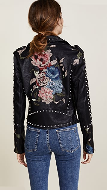 Blank Denim Budding Romance Moto Jacket