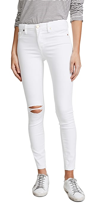 Blank Denim Mid Rise Skinny Ankle Jeans - Great White